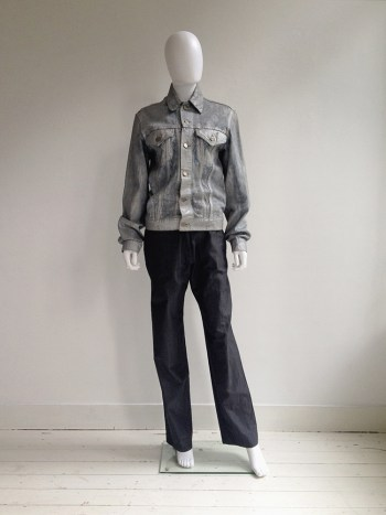 Maison Martin Margiela artisanal silver painted jeans jacket — spring 1999