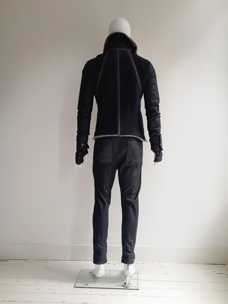 Isaac Sellam Experience black leather hibernatus coat