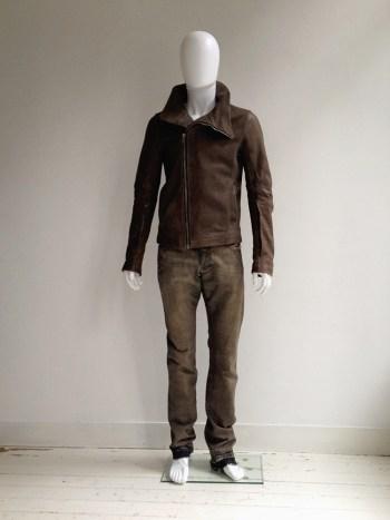 Rick Owens brown Bauhaus leather jacket