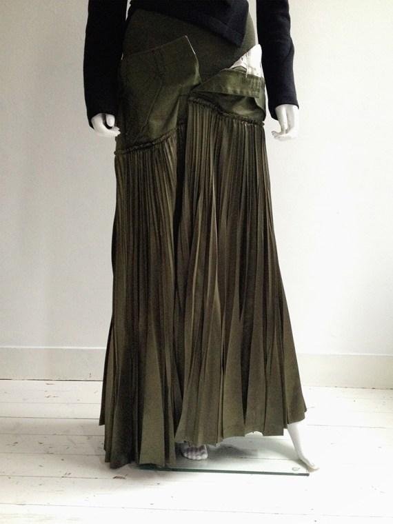 Junya Watanabe deconstructed green pleated skirt — fall 2010