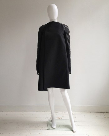 Rick Owens black minimalist coat with leather sleeves — 2011