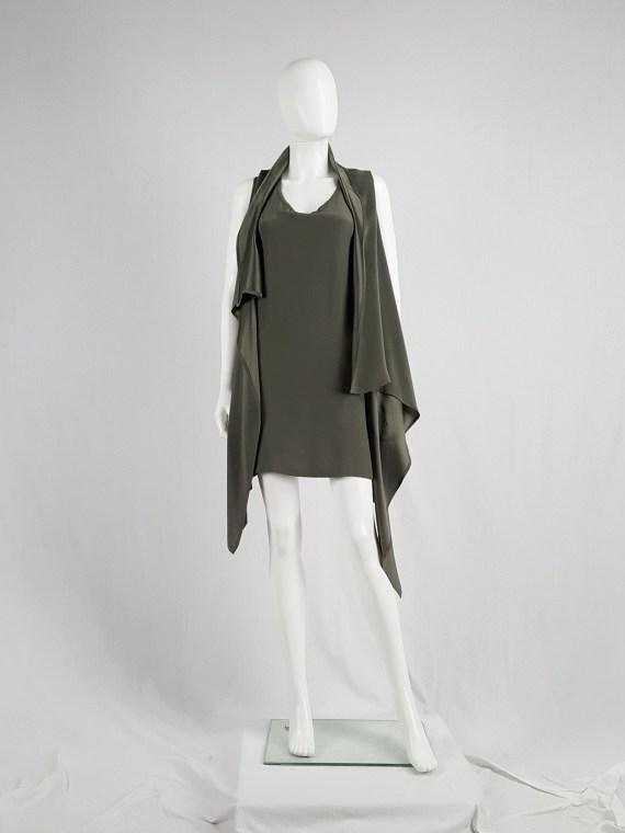 vaniitas vintage Ann Demeulemeester green draped shawl dress 152836