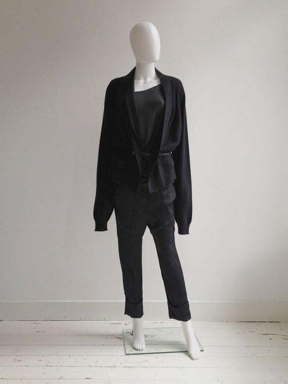 Haider Ackermann black cardigan with silk back panel | shop at vaniitas.com