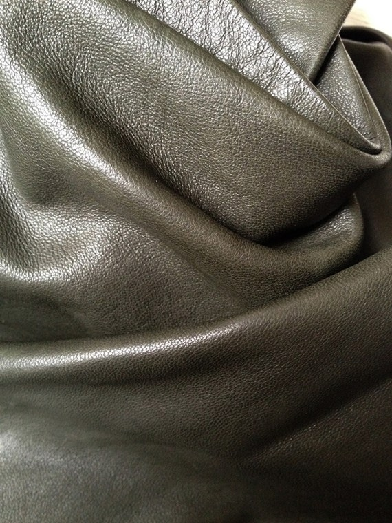 Haider Ackermann green jacket with leather draped collar