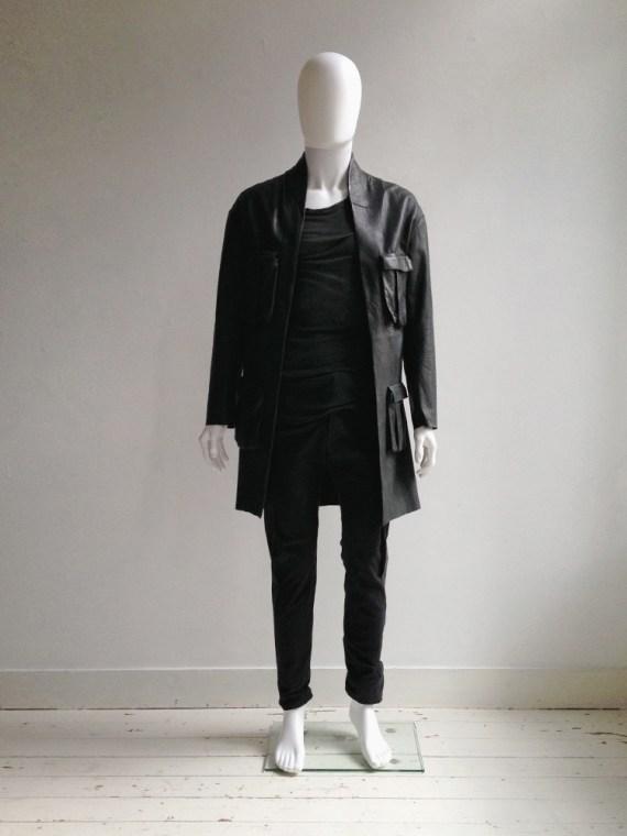 Haider Ackermann green leather pocket coat   shop at vaniitas.com
