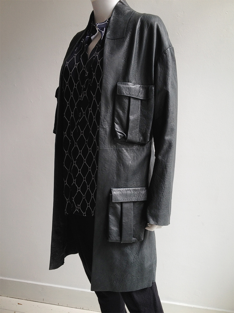 Haider Ackermann green leather pocket coat