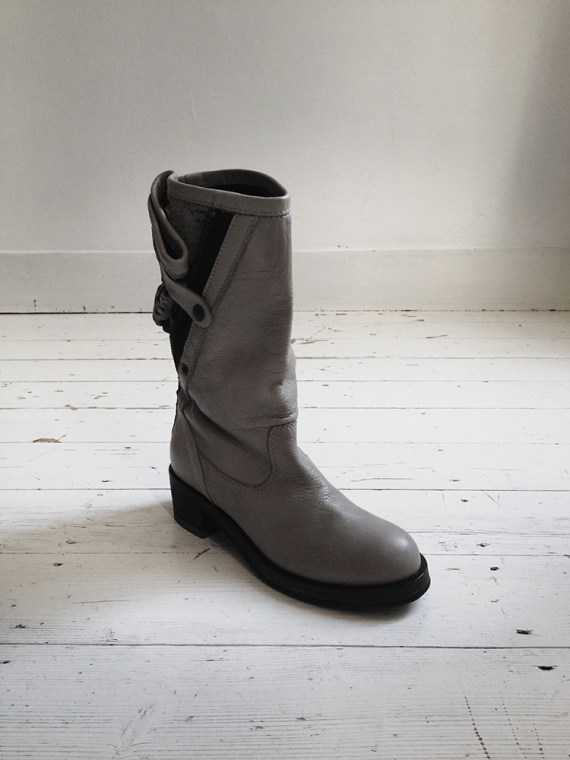 Haider Ackermann grey laced leather boots (38) — fall 2010