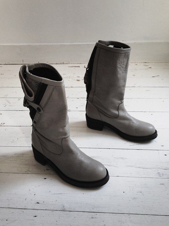 Haider Ackermann grey laced leather boots — fall 2010
