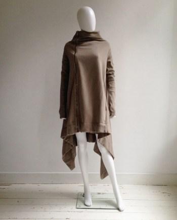 Rick Owens DRKSHDW beige draped cowl coat