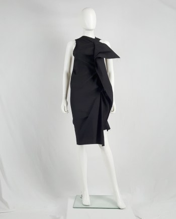 Uma Wang black dress with sculptural front drape — spring 2013