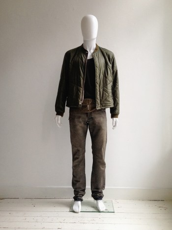 Helmut Lang khaki green bomber jacket