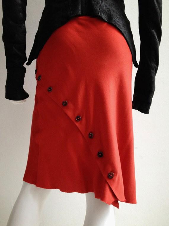 Ann Demeulemeester red asymmetrical button skirt