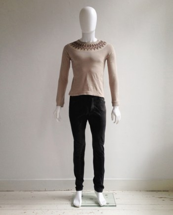 Number (n)ine beige longsleeve top with printed collar