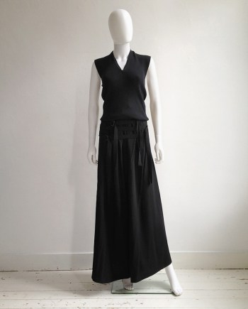 Ann Demeulemeester black front strapped trousers