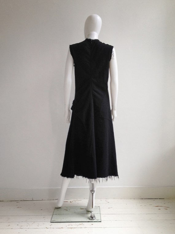 Junya Watanabe black bowtie dress with raw hem — fall 2003