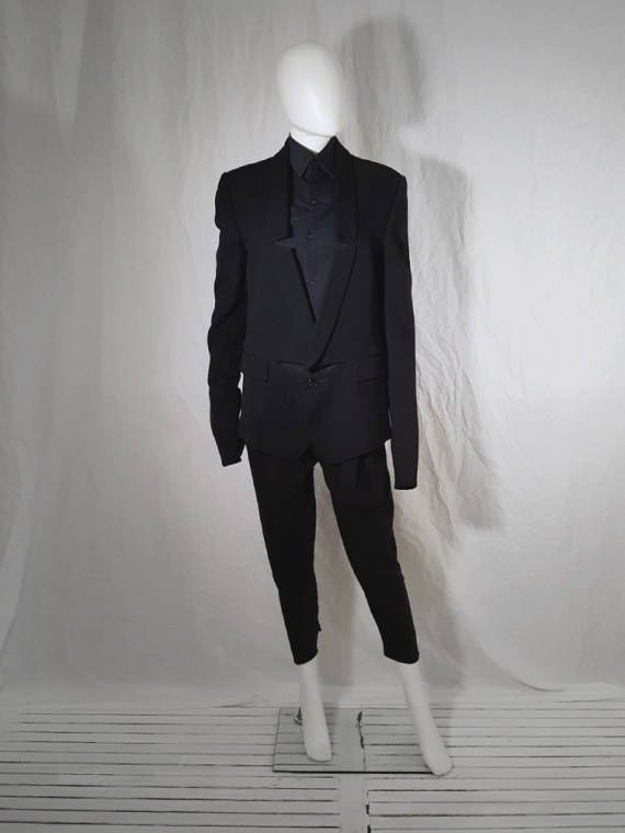 vintage Ann Demeulemeester black blazer with cut panel — fall 2011