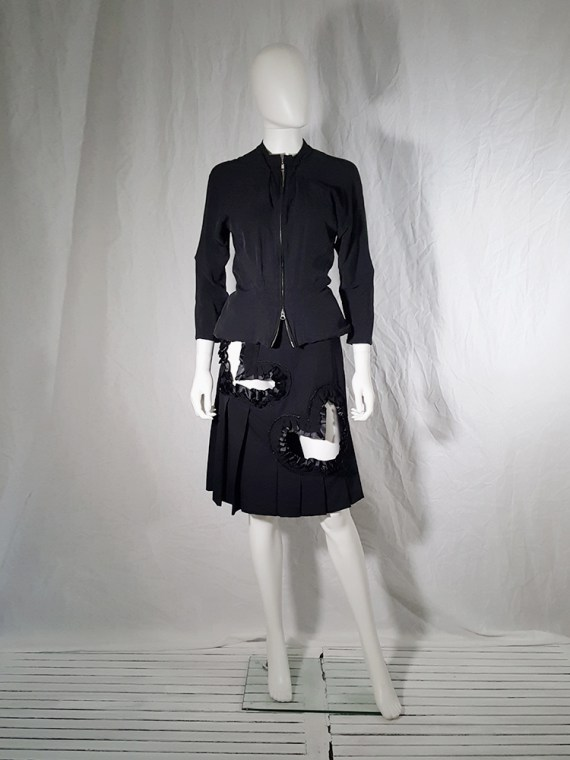 vintage Comme des Garcons black pleated skirt with ruffled hearts cut outs runway fall 2008_155742