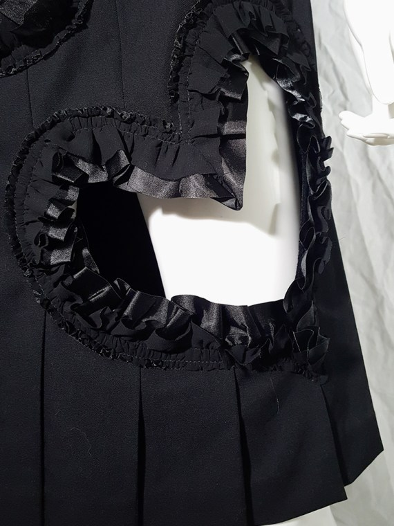 archive Comme des Garcons black pleated skirt with ruffled hearts cut outs AD2008
