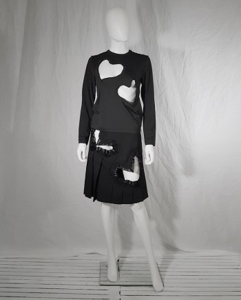 AD2008 Comme des Garcons black top with frilly heart cut outs