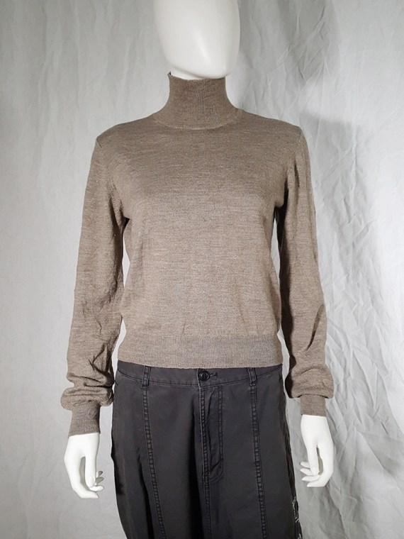 vintage Maison Martin Margiela beige permanently creased turtleneck jumper_152427