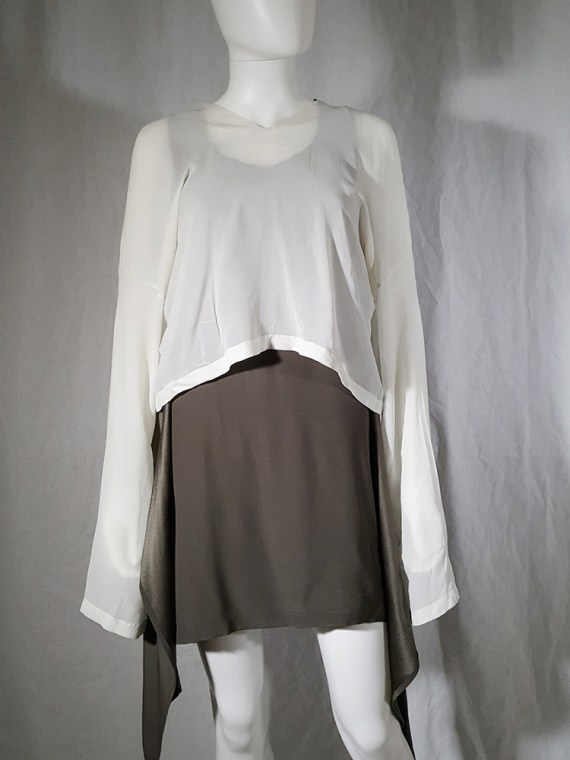 Ann Demeulemeester white silk blouse with back fringes 181011