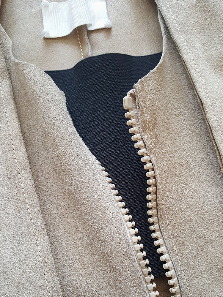 archive Maison Martin Margiela beige leather flat jacket spring 1998 141712(0)