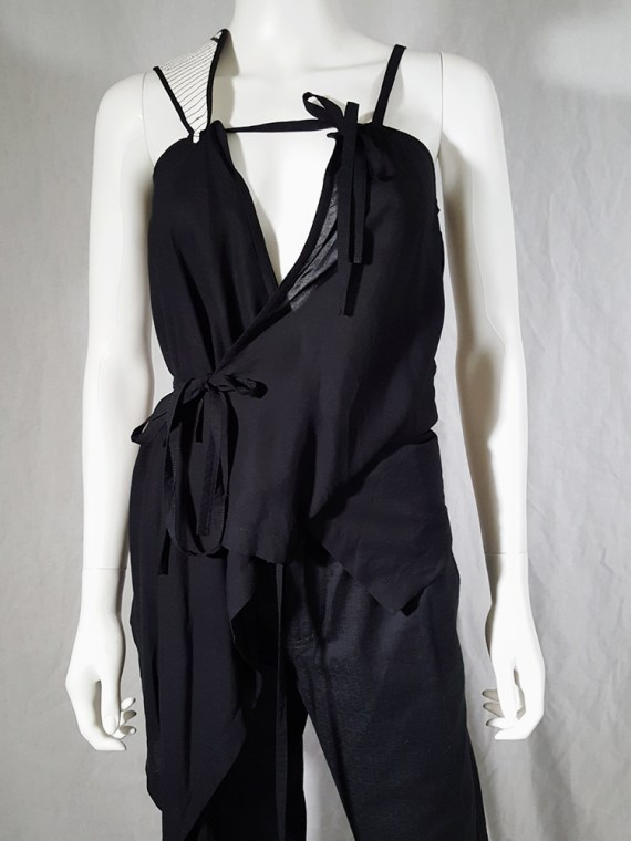 vintage Ann Demeulemeester black transformable top with white shoulder panel spring 2011 161604