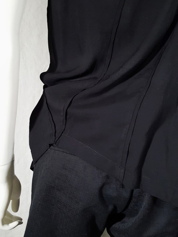 vintage Ann Demeulemeester black transformable top with white shoulder panel spring 2011 161754