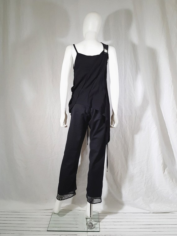 vintage Ann Demeulemeester black transformable top with white shoulder panel spring 2011 161841
