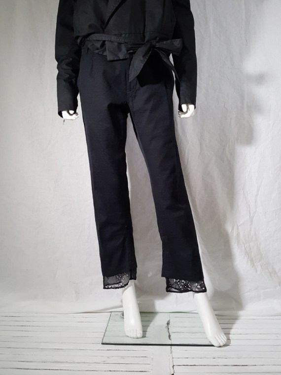 vintage Ann Demeulemeester black trousers with lace trim 1990s 160030(0)