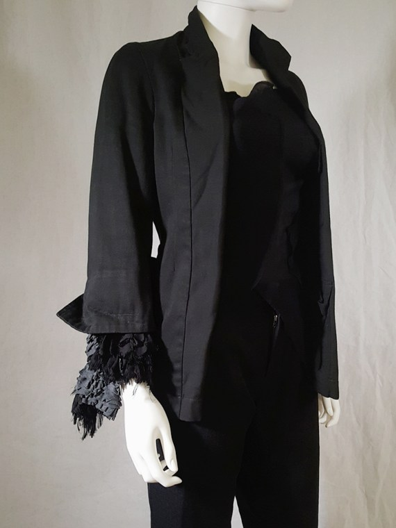 vintage Comme des Garcons dark blue blazer with ruffled sleeves spring 2000 170344(0)