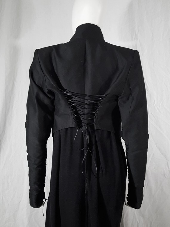 vintage Haider Ackermann black jacket with lace up back and sleeves runway fall 2008 160345