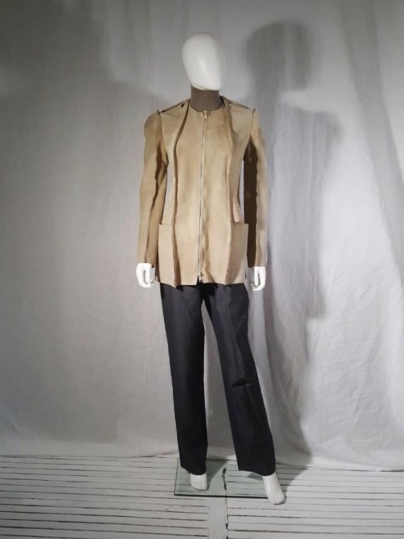 vintage Maison Martin Margiela beige leather flat jacket spring 1998 185600