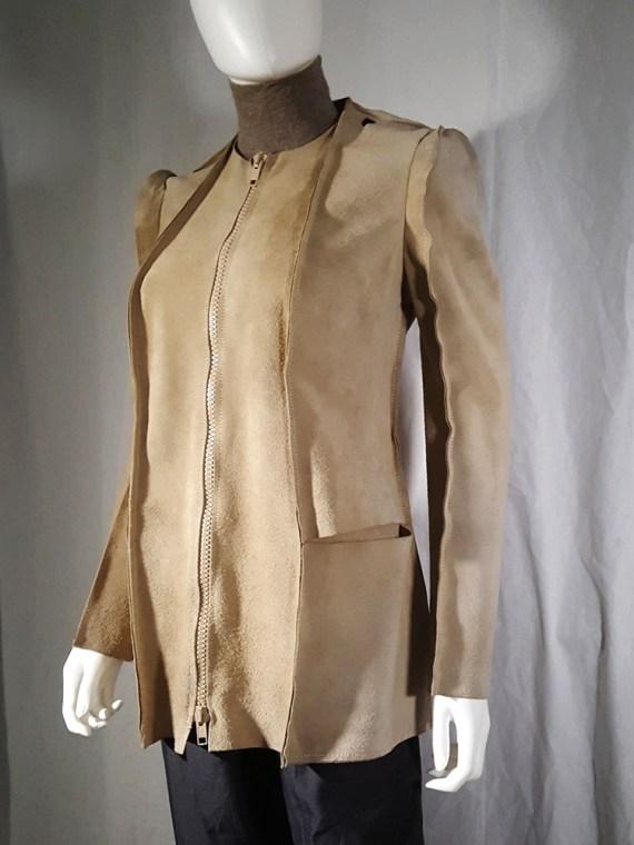 Maison Martin Margiela beige leather flat jacket — spring 1998