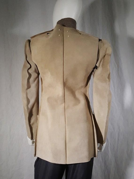 vintage Maison Martin Margiela beige leather flat jacket spring 1998 185919