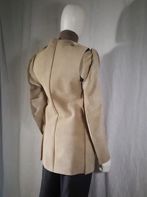 vintage Maison Martin Margiela beige leather flat jacket spring 1998 190004