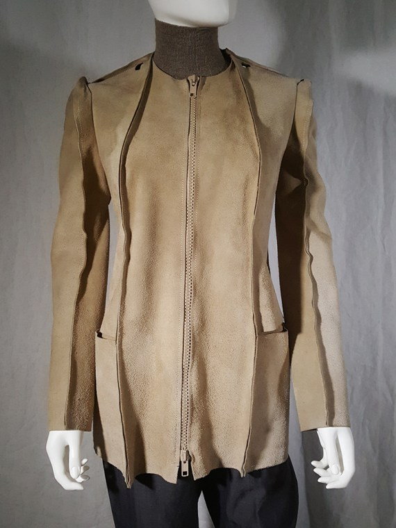 vintage Maison Martin Margiela beige leather flat jacket spring 1998 190048