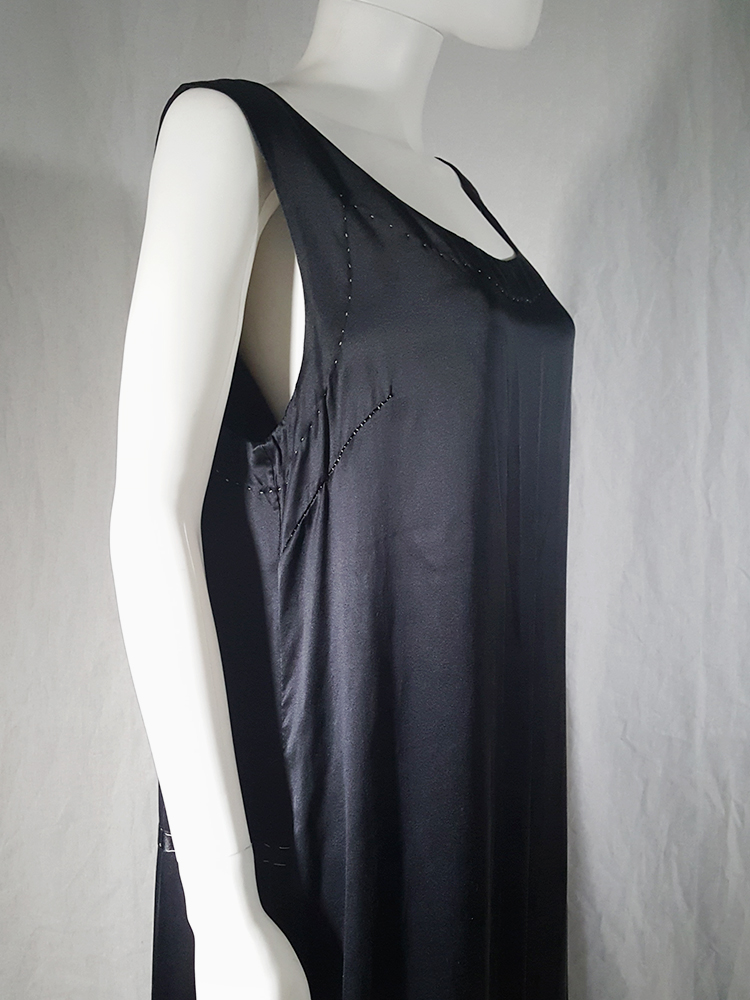 Maison Martin Margiela dark blue dress with exposed stitching — spring 2002