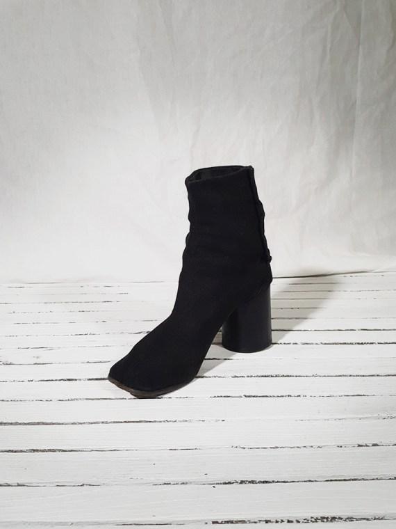 vintage Maison Martin Margiela dark grey linen tabi boots with block heel 150855