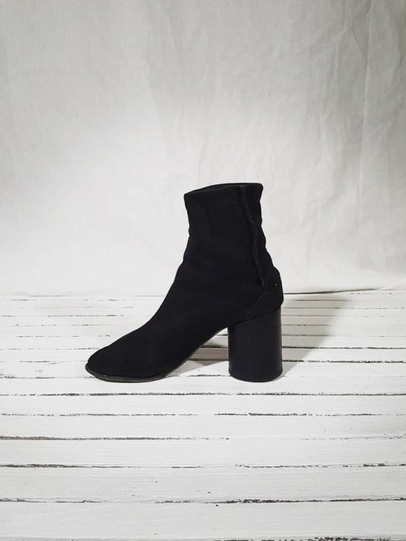 vintage Maison Martin Margiela dark grey linen tabi boots with block heel 150901