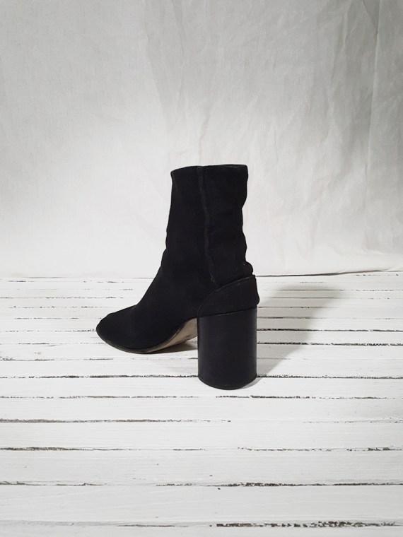 vintage Maison Martin Margiela dark grey linen tabi boots with block heel 150917