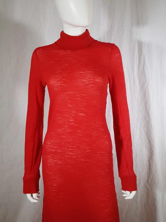 Ann Demeulemeester red knit maxi dress — fall 1996