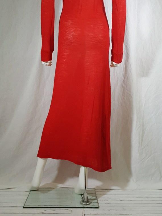 Ann Demeulemeester red knit maxi dress fall 1996 151845(0)