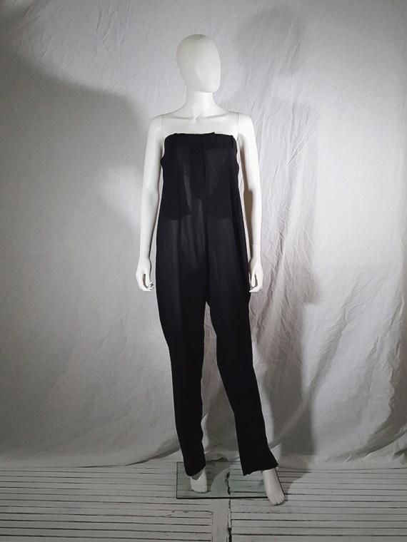 vintage 1990s Ann Demeulemeester black strapless jumpsuit 165324