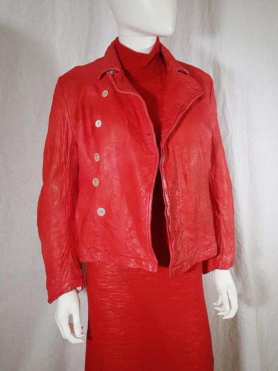 vintage Comme des Garcons comme red wrinkled leather jacket 152817