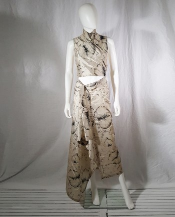 Dries Van Noten beige palm printed wrap top and skirt — spring 1998