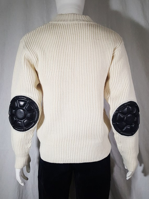 vintage 80s Issey Miyake white jumper with black shoulder and elbow panels140429