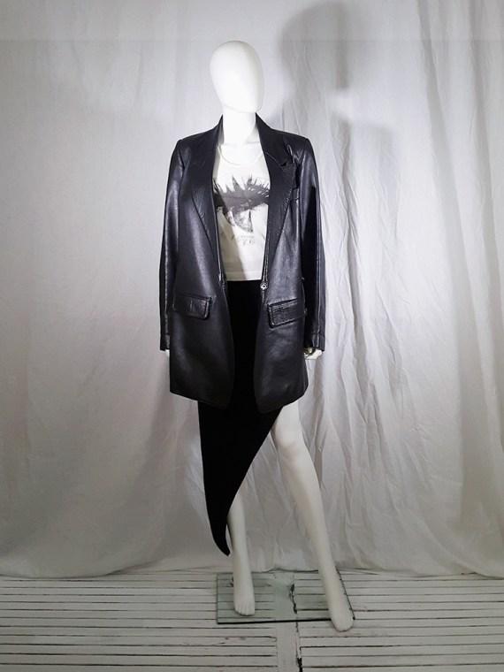 vintage Ann Demeulemeester black leather asymmetric coat fall 1998 133207(0)