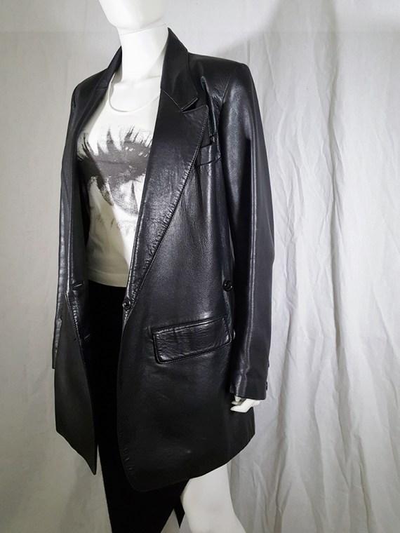 vintage Ann Demeulemeester black leather asymmetric coat fall 1998 133321