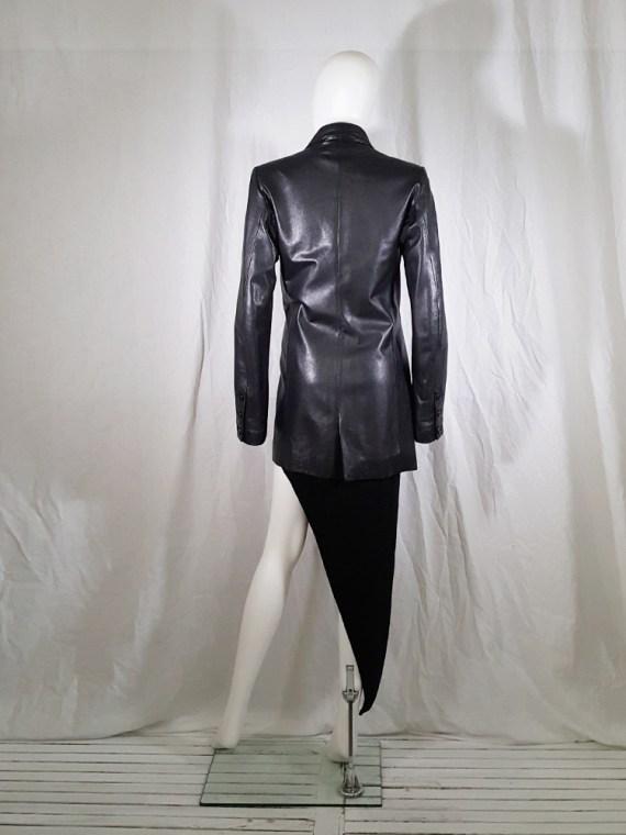 vintage Ann Demeulemeester black leather asymmetric coat fall 1998 133715